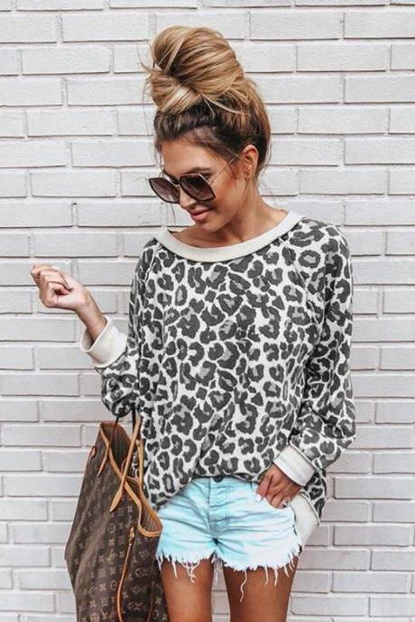 Women Sweatshirt Autumn Long Sleeve O Neck Streetwear Casual Leopard Printed Pullover Tops gray