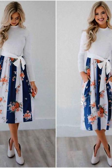 Women Casual Dress Autumn Long Sleeve Pocket Tie Streetwear Loose Striped/Floral Printed Midi Party Dress 100084-blue