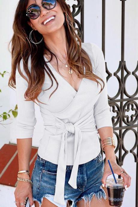 Women Knitted Top Autumn Deep V Neck Cross Lace Up Long Sleeve Casual Slim Sweater Pullovers off white