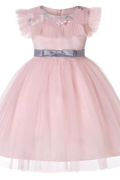 Embroidery Floral Flower Girl Dress Sleeveless Princess Wedding Evening Birthday Party Tutu Gown Children Clothes pink