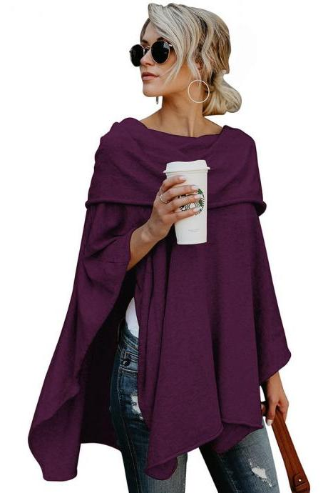Women Off the Shoulder Top Autumn Asymmetric Solid Casual Loose Party Off Cloak Poncho Pullover purple