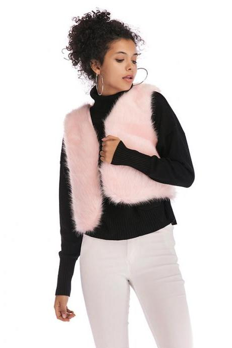 Women Faux Fur Waistcoat V Neck Winter Casual Short Vest Warm Slim Sleeveless Coat Outwear pink