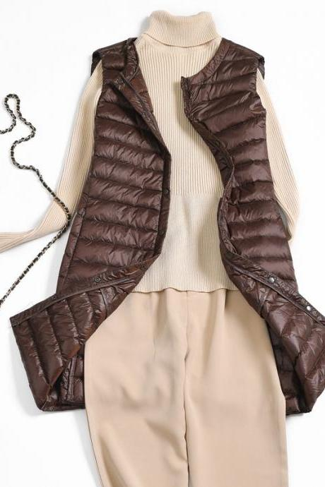 Women Ultra Light Vest Coat Autumn Winter Warm Slim Long Waistcoat Duck Down Sleeveless Jacket brown