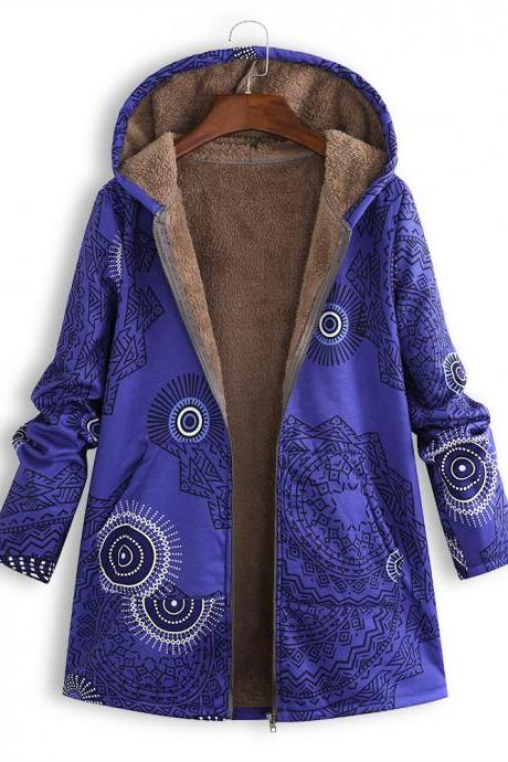 Women Hooded Coat Vintage Floral Printed Winter Warm Plus Size Casual Fleece Jacket blue