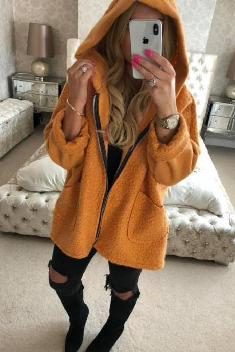 Women Plush Coat Autumn Winter Hooded Zipper Pocket Long Sleeve Warm Casual Loose Jacket Outerwear orange