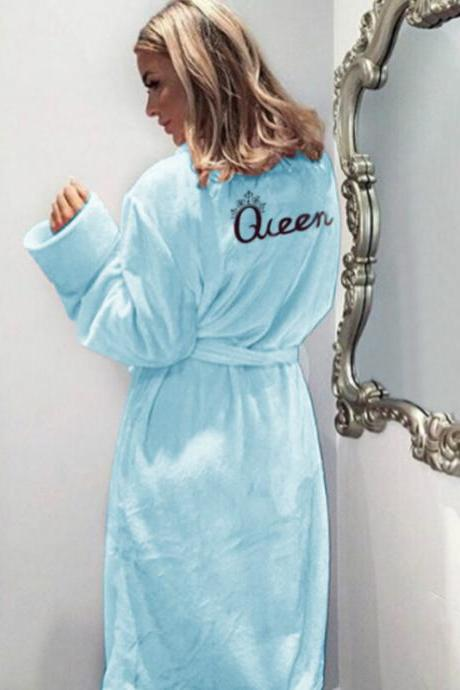 Women Flannel Pajamas Winter Warm Belted Long Sleeve Letter Printed Night Dress Sleepwear Bathrobe light blue