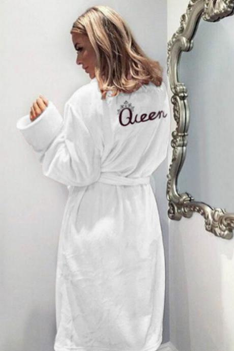 Women Flannel Pajamas Winter Warm Belted Long Sleeve Letter Printed Night Dress Sleepwear Bathrobe off white