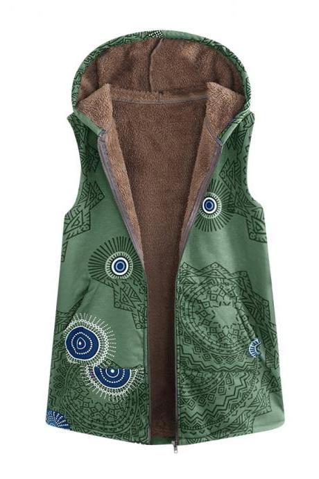 Women Floral Printed Waistcoat Winter Warm Hooded Pockets Vest Thicken Casual Plus Size Sleeveless Coat Outwear green