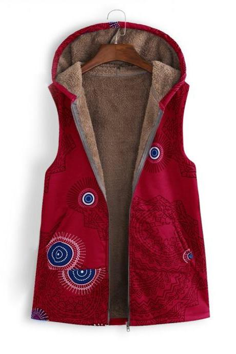 Women Floral Printed Waistcoat Winter Warm Hooded Pockets Vest Thicken Casual Plus Size Sleeveless Coat Outwear red