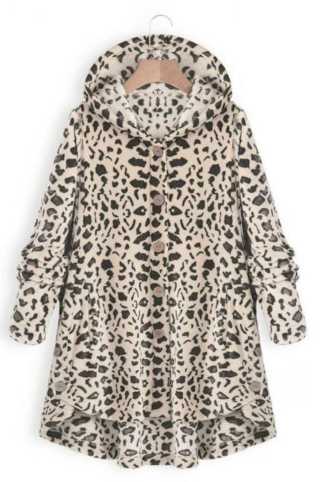 Women Fleece Coat Autumn Winter Warm Buttons Long Sleeve Plus Size Casual Loose Hooded Jacket khaki leopard