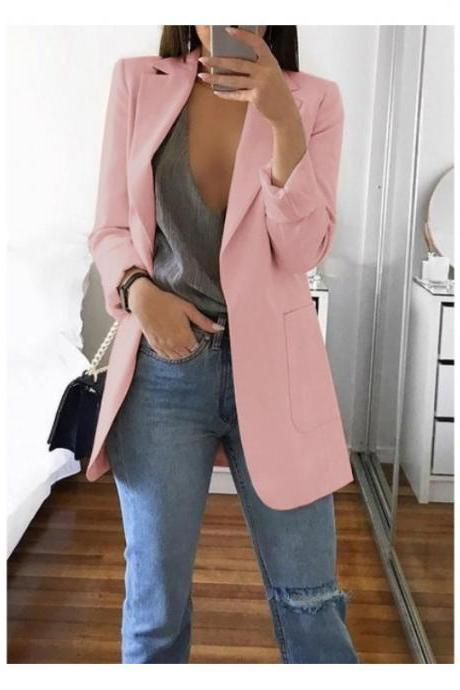Women Blazer Coat Autumn Long Sleeve Slim Fit Work Office Business Casual Suit Coat pink
