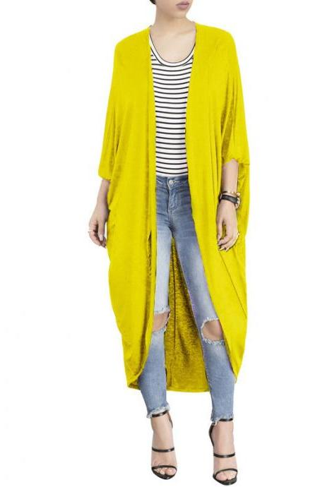 Women Trench Coat Autumn 3/4 Bat Sleeve Casual Loose Asymmetrical Long Cardigan Jacket yellow
