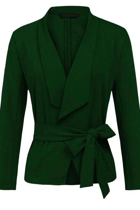 Women Blazer Coat Autumn Long Sleeve Belted Casual Work Office Lady Slim Suit Jacket hunter green
