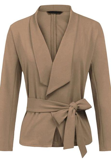Women Blazer Coat Autumn Long Sleeve Belted Casual Work Office Lady Slim Suit Jacket khaki