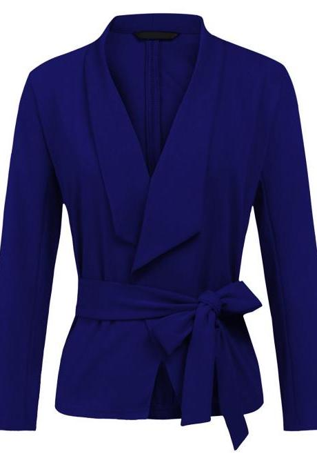 Women Blazer Coat Autumn Long Sleeve Belted Casual Work Office Lady Slim Suit Jacket royal blue