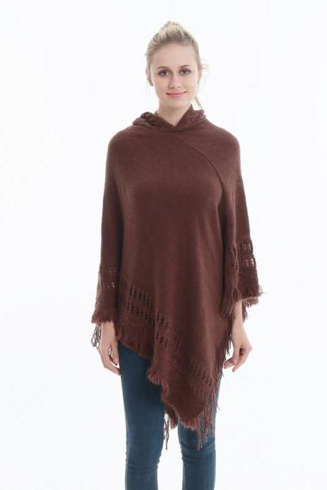 Women Tassel Cape Coat Autumn Winter Knitted Hollow out Hooded Fringe Poncho Asymmetrical Tops coffee