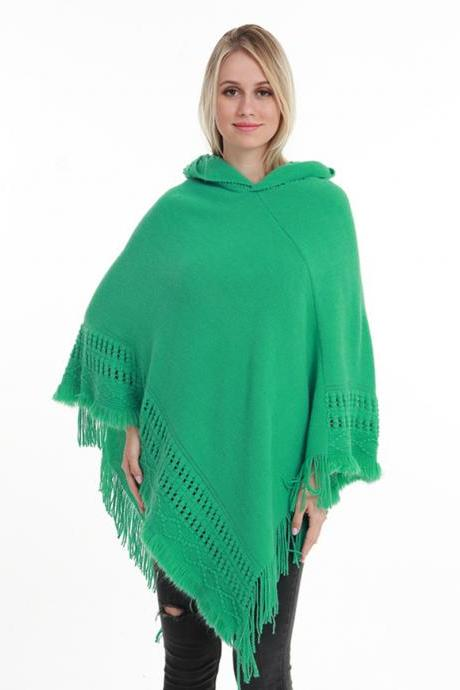 Women Tassel Cape Coat Autumn Winter Knitted Hollow out Hooded Fringe Poncho Asymmetrical Tops green
