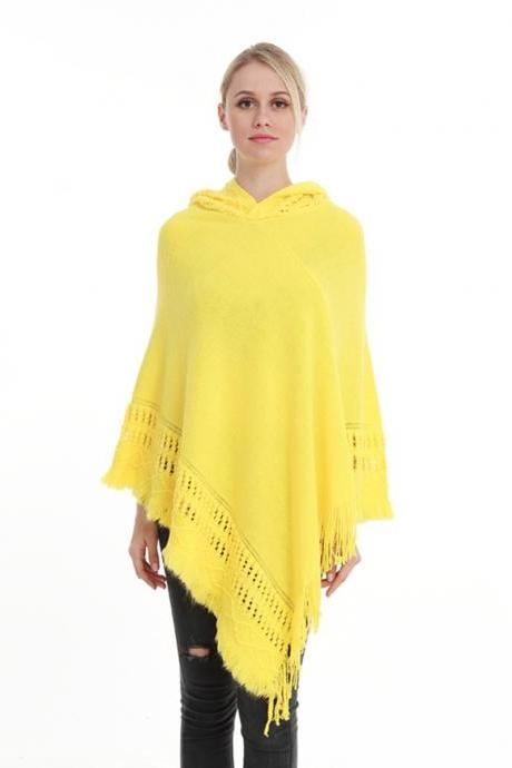Women Tassel Cape Coat Autumn Winter Knitted Hollow out Hooded Fringe Poncho Asymmetrical Tops yellow