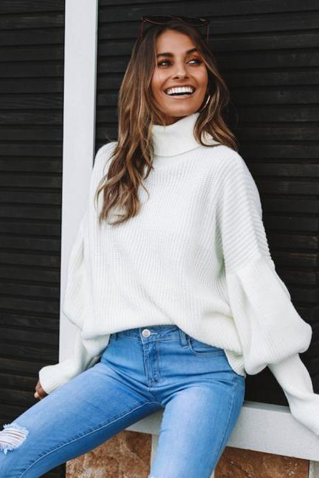 Women Knitted Sweater Autumn Winter Turtleneck Long Sleeve Casual Loose Pullover Tops off white