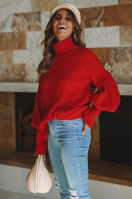 Women Knitted Sweater Autumn Winter Turtleneck Long Sleeve Casual Loose Pullover Tops red