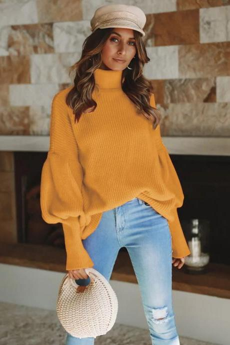 Women Knitted Sweater Autumn Winter Turtleneck Long Sleeve Casual Loose Pullover Tops yellow