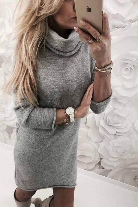 Women Sweater Dress Autumn Winter Turtleneck Long Sleeve Casual Streetwear Mini Knitted Dress gray