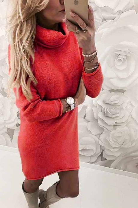 Women Sweater Dress Autumn Winter Turtleneck Long Sleeve Casual Streetwear Mini Knitted Dress red