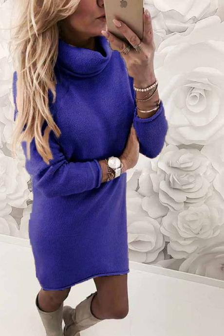 Women Sweater Dress Autumn Winter Turtleneck Long Sleeve Casual Streetwear Mini Knitted Dress royal blue