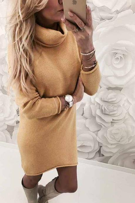 Women Sweater Dress Autumn Winter Turtleneck Long Sleeve Casual Streetwear Mini Knitted Dress yellow