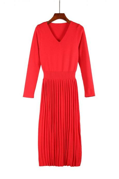 Women Sweater Dress Autumn Winter V Neck Long Sleeve Slim Pleated Elastic Casual Midi Knitted Dress red