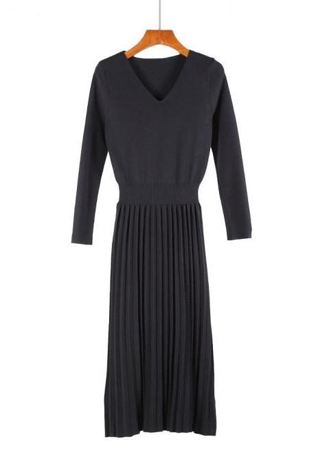 Women Sweater Dress Autumn Winter V Neck Long Sleeve Slim Pleated Elastic Casual Midi Knitted Dress black
