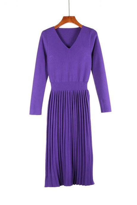 Women Sweater Dress Autumn Winter V Neck Long Sleeve Slim Pleated Elastic Casual Midi Knitted Dress purple
