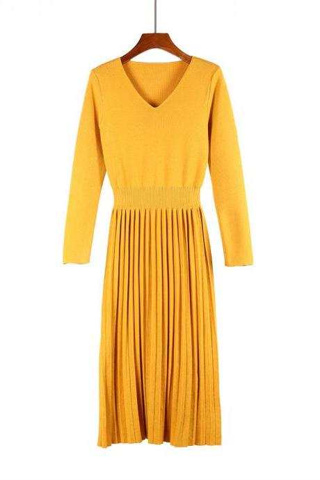 Women Sweater Dress Autumn Winter V Neck Long Sleeve Slim Pleated Elastic Casual Midi Knitted Dress yellow