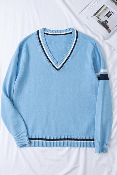 Japanese School JK Uniform Sweater Autumn Winter Couples Lovers Unisex Warm V Neck Long Sleeve Pullover Tops light blue
