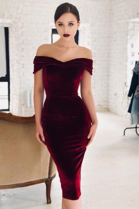 Women Velvet Dress Sexy Off the Shoulder Slim Sleeveless Bodycon Midi Night Club Party Dres wine red