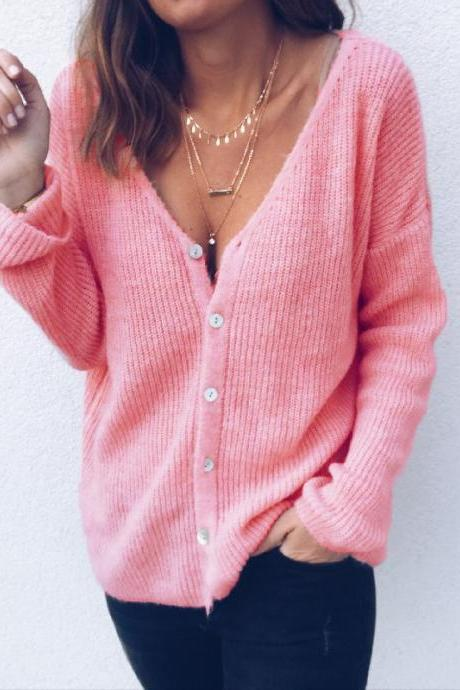 Women Knitted Sweater Autumn V Neck Long Sleeve Buttons Casual Loose Cardigan Tops pink