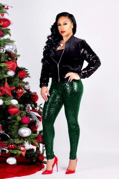 Women Sequined Pencil Pants With Lining Sexy Skinny Slim Night Club Party Trousers green