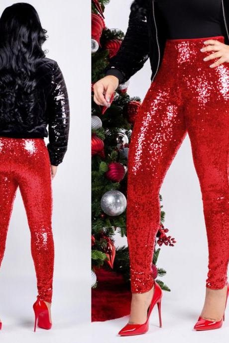 Women Sequined Pencil Pants With Lining Sexy Skinny Slim Night Club Party Trousers red