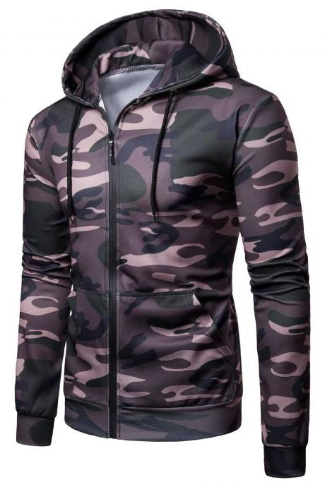 Men Camouflage Coat Spring Autumn Thin Slim Long Sleeve Zipper Hooded Jacket Windbreaker Outwear army green