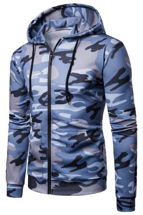 Men Camouflage Coat Spring Autumn Thin Slim Long Sleeve Zipper Hooded Jacket Windbreaker Outwear blue