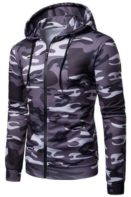 Men Camouflage Coat Spring Autumn Thin Slim Long Sleeve Zipper Hooded Jacket Windbreaker Outwear dark gray