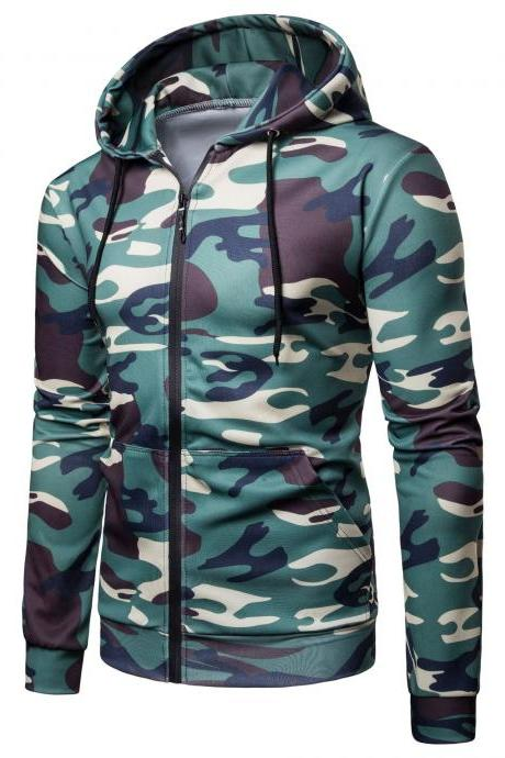 Men Camouflage Coat Spring Autumn Thin Slim Long Sleeve Zipper Hooded Jacket Windbreaker Outwear green
