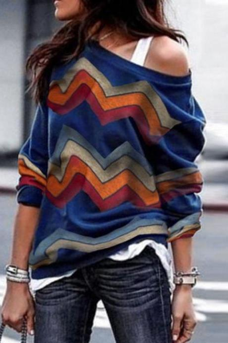 Women Long Sleeve T Shirt Spring Autumn Off Shoulder Casual Geometric Printed Pullover Tops royal blue