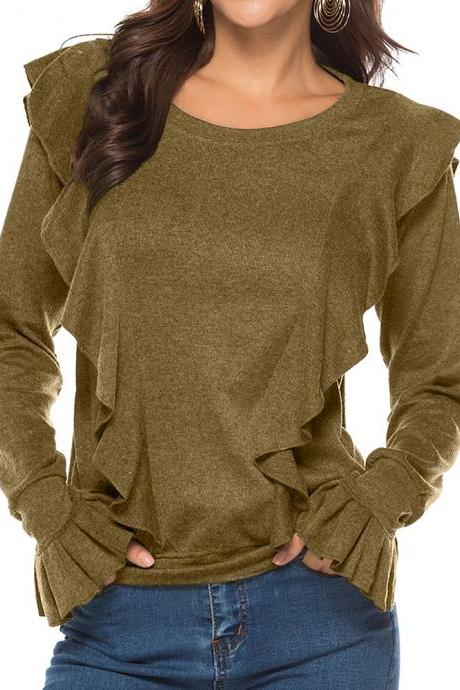 Women Long Sleeve T Shirt Autumn Winter Ruffles Flare Sleeve Casual Pullover Tops coffee