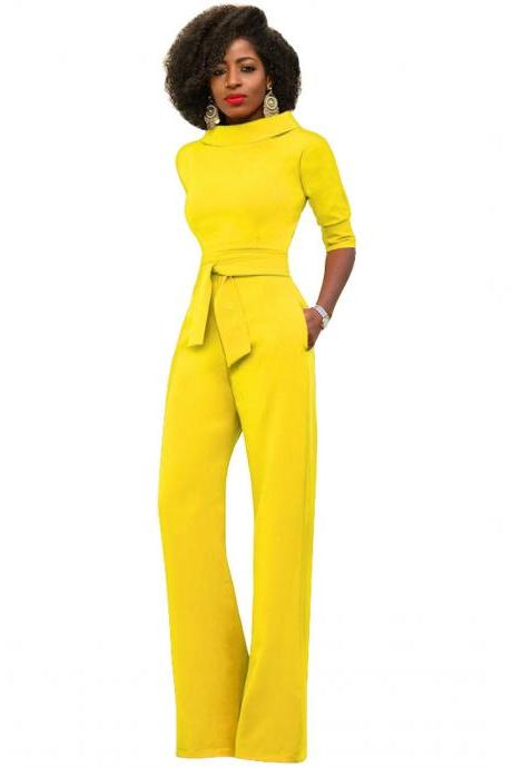 Women Jumpsuit Half Sleeve Stand Collar Belted Casual Wide Leg Pants Office Rompers Overalls yellow