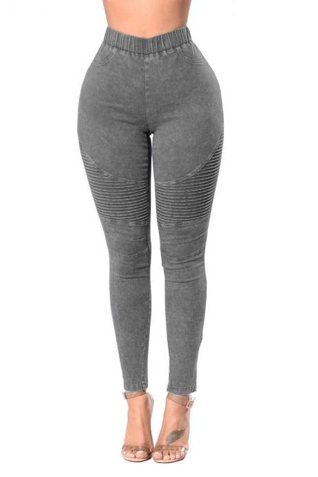 Women Denim Pants Elastic High Waist Pleasted Slim Stretch Jeans Pencil Trousers gray