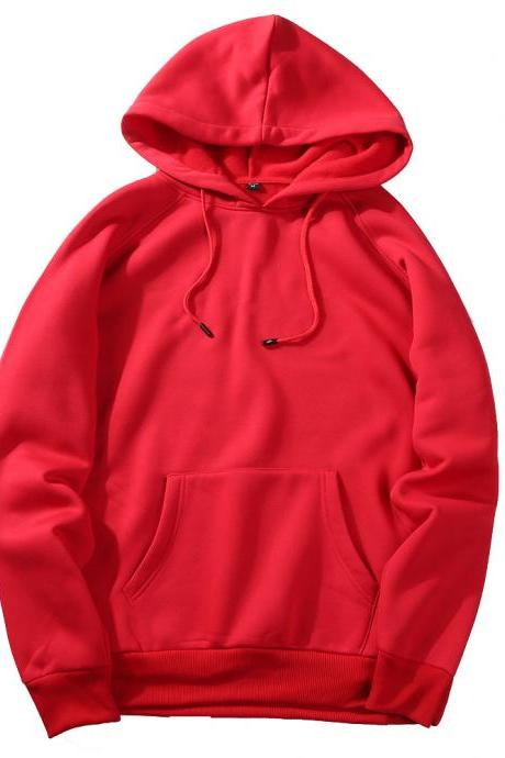 Men Hoodies Winter Warm Long Sleeve Streetwear Hip Hop Casual Hooded Sweatshirts red