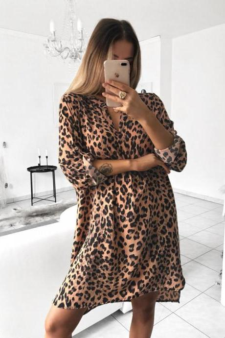 Women Shirt Dress V Neck Snake/Leopard Printed Long Sleeve Casual Loose Mini Club Party Dress 2#
