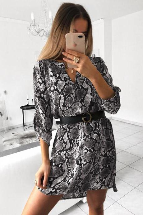 Women Shirt Dress V Neck Snake/Leopard Printed Long Sleeve Casual Loose Mini Club Party Dress 3#