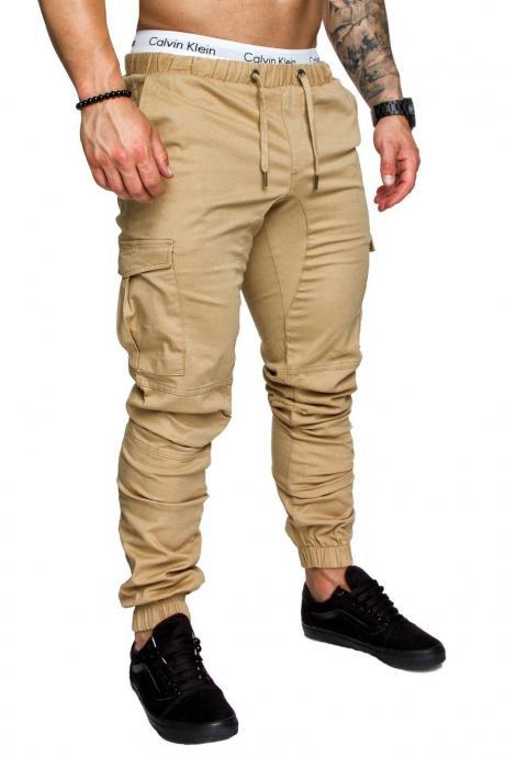Men Pants Drawstring Waist Multi-Pocket Sports Hip Hop Harem Workout Joggers Casual Trousers khaki